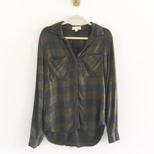 Cloth & Stone Plaid Flannel Tunic Shirt